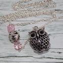 Gombócos antik bagoly nyaklánc, Ékszer, óra, Nyaklánc, Antik hatású, ezüst színű, bagoly nyaklánc. Halvány rózsaszín csiszolt gyönggyel és antik hatású gom..., Meska