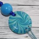 AKCIÓs kék tenger nyaklánc, Ékszer, Medál, Nyaklánc, 1800ft helyett most 1000ft a hőre keményedő gyurmából készült 3,5 cm átmérőjű nyaklánc. A gyöngy átm..., Meska