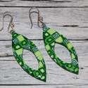 Zöld hosszúkás fülbevaló, Ékszer, óra, Fülbevaló, Hőre keményedő gyurmából készült fülbevaló.Hossza 4,3 cm. Saját készítésű ezüstözött akasztóval. Ame..., Meska