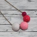 AKCIÓ!!! Gombóc bogyó nyaklánc, Ékszer, óra, Nyaklánc, 1900ft helyett most 1200ft  Fehér, púder rózsaszín és mályva műanyag gyöngyökből készült gombóc, bog..., Meska