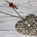 Vintage. antik szív, csiszolt piros gyönggyel és kulccsal, Ékszer, Nyaklánc, Vintage, antik hatású nagy szív alakú mutatós nyaklánc, melynek mérete 6,5x5,5 cm. Jobb oldala piros..., Meska