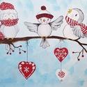 3 jóbarát, Otthon & Lakás, Dekoráció, Festészet, Festett  kép akrillal , 3 kis jóbaratról, amint egy hideg téli napon összetalálkoznak, megvitatni a..., Meska