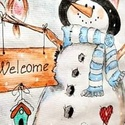 """Hóember, Karácsony & Mikulás, Festészet, Akvarell technikával festett hóember. Kisgyermekek, """"nagy gyermekek """" kedvence lehet karácsony köze..., Meska"""