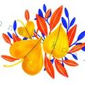 Sárga levelek_A5 print, Dekoráció, Képzőművészet, Kép, Illusztráció, Fotó, grafika, rajz, illusztráció, Néhány markerrel és ecsetfilccel készült illusztrációmból nyomatot készítettem. Ennél a darabnál a ..., Meska