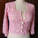 Rózsaszín patchwork kardigán, Ruha, divat, cipő, Női ruha, Felsőrész, póló, Négyzetekből horgolt, könnyű, nyári rózsaszín kardigán háromnegyedes ujjal, keskeny szegél..., Meska