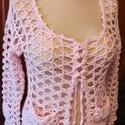 Rózsaszín horgolt kardigán tavaszra, nyárra, Ruha, divat, cipő, Női ruha, Felsőrész, póló, Rózsaszín horgolt kardigán tavaszra, nyárra  Halvány rózsaszín, hosszú ujjú, szellős, horg..., Meska