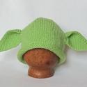 Yoda sapka fotózáshoz, Ruha, divat, cipő, Kendő, sál, sapka, kesztyű, Sapka, Kötés, Kézzel kötött, egyedi baba sapka Yoda fazonban, 2 füllel. Friss-zöld, puha Baby fonalból készült kö..., Meska