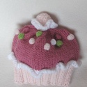 Muffin sapka pasztell színekben, Ruha, divat, cipő, Kendő, sál, sapka, kesztyű, Sapka, Kötés, Kézikötésű, egyedi babasapka muffin-mintával, pomponnal fotózáshoz vagy ajándékba. Anyaga: Baby puh..., Meska
