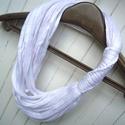 Hófehér - pamut textil nyaklánc , Ruha, divat, cipő, Ékszer, óra, Nyaklánc, Kendő, sál, sapka, kesztyű, Kiárusítás :) - KÉSZLETEN!  Kézzel, csomózással készült textilnyaklánc. 20 szál makramékötéssel rögz..., Meska