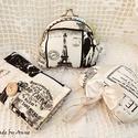 Shabby chic szeretet szett Párizs, Táska, Pénztárca, tok, tárca, Zsebkendőtartó, Erszény, Varrás, Anne csatos tárcák - KÉSZLETEN! - Kifutó darabok kedvezményes áron.  Romantikus tarsoly szett dekor..., Meska