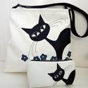 Cica pillanatképek 2. - Bohó a virágosban - macskás táska szett, Táska, Válltáska, oldaltáska, Tarisznya, Anne Midi trapéz táskák - RENDELHETŐ! Szettben kedvező áron :)  Ha közepes méretű, jó pakolós táskát..., Meska