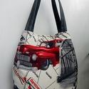 ROUTE 66 mintás shopping bag - állítható méretű, XXL, két funkciós válltáska, Ruha, divat, cipő, Táska, Válltáska, oldaltáska, Szatyor, Anne Shopping Bag - Különc formák táskák - KÉSZLETEN!  ROUTE 66 XXL méretű táska készült újra, az al..., Meska
