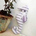 Vintage csikóhal, dekoráció csíkos, Dekoráció, Otthon, lakberendezés, Karácsonyi, adventi apróságok, AnneHOME - Dekorációk - KÉSZLETEN!  Tilda jellegű textil csikóhal készült, lila, csíkos szín-összeál..., Meska