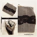 Pöttyös mintás, monofil csipkés szövet kézitáska, csatos táska, Anne Vintage táskák - KÉSZLETEN!  Halványszür...