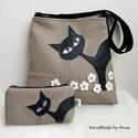 Cica pillanatképek 2. - Bohó a virágosban - macskás táska szett, Táska, Ruha, divat, cipő, Válltáska, oldaltáska, Tarisznya, Anne Midi trapéz táskák - RENDELHETŐ! Szettben kedvező áron :)  Ha közepes méretű, jó pakolós táskát..., Meska