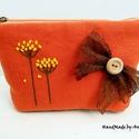 Narancs virágos két színű neszesszer, Táska, Ruha, divat, cipő, Neszesszer, Pénztárca, tok, tárca, Virágos tarsolyok - KÉSZLETEN!  Egy cipzáras neszi mindig jól jön, mely pont belefér a táskába és re..., Meska