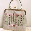 Rózsaszín levendulák - hímzett kézitáska, csatos tárca, táska, Táska, Ruha, divat, cipő, Szerelmeseknek, Pénztárca, tok, tárca, Anne Vintage hímzett táskák - KÉSZLETEN!  Vintage hímzett táska kollekcióm egyedi darabjaként hoztam..., Meska