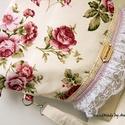 Barbie - rózsás Midi 2inONE oldaltáska, válltáska, Táska, Ruha, divat, cipő, Válltáska, oldaltáska, Tarisznya, Anne Midi vintage táska Barbie stílusban - KÉSZLETEN!  Rózsa mintás bútorvászon és krémszínű vásznas..., Meska