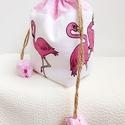 Flamingók - tulipános zsák, Táska, Neszesszer, Pénztárca, tok, tárca, Erszény, AnneHome - Tulipános zsák - KÉSZLETEN  Rózsaszín, flamingó mintás és pöttyös pamutvászonból készült ..., Meska