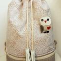 Csipkemintás kényelmes - tornazsák/hátizsák bagoly kitűzővel, Anne Tornazsák/hátizsák - KÉSZLETEN!  Kicsit v...