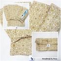Papírzsebkendő tartó csomag - Fehér arannyal zsákban, Táska, Karácsonyi, adventi apróságok, Pénztárca, tok, tárca, Zsebkendőtartó, ÚJRA megérkeztek boltomba a papírzsebkendő tartók, most szettben karácsonyi mintával, ajándék zsákka..., Meska