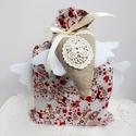 Angyalszárnyas ajándék zsák szett, Táska, Dekoráció, Karácsonyi, adventi apróságok, Ünnepi dekoráció, Karácsonyi dekoráció, Ajándékzsák, AnneHome - Ajándék zsákok - KÉSZLETEN  Beige alapon karácsonyi mintás, szarvasos Lonetta pamutvászon..., Meska
