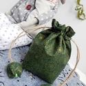 Karácsonyi mintás zöld arannyal - tulipános zsák, Táska, Karácsonyi, adventi apróságok, Pénztárca, tok, tárca, Erszény, AnneHome - Tulipános zsák - KÉSZLETEN  Karácsonyi mintás zöld arannyal pamutvászonból készült több r..., Meska