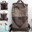 Háromszög Tote backpack hátizsák barna, Táska, Ruha, divat, cipő, Hátizsák, Tote Backpack 2:1 - KÉSZLETEN!  Ismét egy új hatalmas pakolós táska, melyet egyrészt használhatsz ha..., Meska