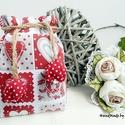 Piros szívek - tulipános zsák, Táska, Dekoráció, Szerelmeseknek, Ünnepi dekoráció, AnneHome - Tulipános zsák - KÉSZLETEN  Piros-fehér szívmintás pamutvászonból készült több rétegű ers..., Meska