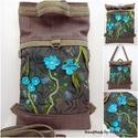 Kirándulás a meseerdőben - Chameleon shopping backpack 4:1 - dzsungel virágai, Táska, Ruha, divat, cipő, Hátizsák, Válltáska, oldaltáska, Varrás, Nemezelés, Dzsungel virágai - Chameleon Shopping Bag/Backpack - ÚJ Kézzel festett - KÉSZLETEN!  Az idei kollek..., Meska