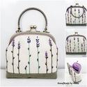 Levendulás fém füles hímzett  pénztárca, csatos táska, Anne csatos táskák - KÉSZLETEN!  Levendulás, k...