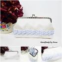 Patchwork sevron mintás textilbőr csatos pénztárca, táska, Anne csatos tárcák - KÉSZLETEN!  Beige színű ...