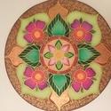 Kivirágzás, Dekoráció, Képzőművészet, Kép, Textil, Selyemfestés, Selyemre készült egyedi mandala. 35 cm-es feszített selyemkép. Egyedi tervezésű, a lelkemből készül..., Meska