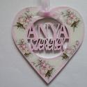 Anyák napi szív és virág alakú dísz Anya szeretelek felirattal, Dekoráció, Dísz, Anyák napi szív és virág  alakú dísz Anya szeretlek felirattal,többféle mintával.Ajándékn..., Meska