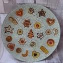 Mézeskalács,apró sütemény mintás süteményes tál,tányér, Dekoráció, Karácsonyi, adventi apróságok, Ünnepi dekoráció, Karácsonyi dekoráció, Mézeskalács,apró sütemény mintás süteményes tál,tányér.Alulról van díszítve és lakkoz..., Meska