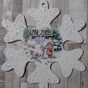 Óriás hópehely ajtódísz,üdvözlőtábla kislány madarakkal mintával, Dekoráció, Karácsonyi, adventi apróságok, Otthon, lakberendezés, Ünnepi dekoráció, Karácsonyi dekoráció, Ajtódísz, kopogtató, Decoupage, transzfer és szalvétatechnika, Óriás hópehely alakú ajtódísz,üdvözlőtábla kislány madarakkal mintával és választható felirattal.He..., Meska