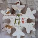 Hóember mintás hópehely alakú téli ajtódísz,üdvözlőtábla,függődísz, Otthon, lakberendezés, Dekoráció, Ajtódísz, kopogtató, Dísz, Hóember mintás hópehely alakú téli ajtódísz,üdvözlőtábla,függődísz választható felir..., Meska