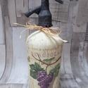 Retro szódásüveg szőlős mintával, Dekoráció, Otthon, lakberendezés, Dísz, Asztaldísz, Retro szódásüveg szőlős mintával díszítve.A feje vaspasztával és metál viaszpasztával va..., Meska