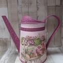 Virágárus szekér mintával díszített locsolókanna, Dekoráció, Anyák napja, Dísz, Locsolókanna virágokkal teli szekér mintával.Szép  dekoráció lehet kertbe,teraszra,lakásba.A..., Meska