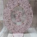Húsvéti dekoráció tojás nyuszival a közepén viktoriánus rózsaszszínben rózsa mintával díszítve, Húsvéti díszek, Húsvéti dekoráció  tojás nyuszival a közepén viktoriánus rózsaszín színben helyenként vi..., Meska