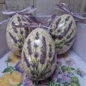 Levendula vagy vegyes virág mintás repedezett hatású húsvéti tojások, Dekoráció, Ünnepi dekoráció, Húsvéti díszek,  Levendula vagy  virág(árvácska,orgona,krókusz,primula,nefelejcs,nárcisz,tulipán) mintás repe..., Meska