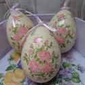 Rózsa vagy gyöngyvirág mintás repedezett hatású húsvéti tojások, Dekoráció, Ünnepi dekoráció, Húsvéti díszek, Rózsa vagy gyöngyvirág mintás repedezett hatású húsvéti tojások.Az alapja hungarocell/polis..., Meska