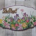 Mezei virág vagy tavaszi virág mintás ajtódísz,üdvözlőtábla, Dekoráció, Otthon, lakberendezés, Ajtódísz, kopogtató, Mezei virág vagy tavaszi virág mintás ajtódísz,üdvözlőtábla  választható felirattal.Mére..., Meska