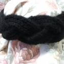 Kötött fekete  fejpánt, hajpánt, három ágból fonva, Ruha, divat, cipő, Hajbavaló, Hajpánt, Kötés, RENDELHETŐ!  Fejpánt, 7-8cm széles, akril fonalból kötve, három ágból fonva. Könnyű, meleg rugalmas..., Meska