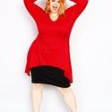Pamut  Tunika plus size méretű, Ruha, divat, cipő, Női ruha, Felsőrész, póló, Varrás, Kellemes és kényelmes viselet a pamut elasztánnak köszönhetően.M,L,XL.méret..Rendelhető színek:piro..., Meska