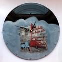 Italia bakelit óra, Otthon, lakberendezés, Mindenmás, Dekoráció, Falióra, Decoupage, szalvétatechnika, Újrahasznosított alapanyagból készült termékek, Hangulatos kiegészítő lehet otthonunkban ez a  régi, már hallgathatatlan bakelit lemezből készült, ..., Meska