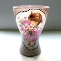 Kislány váza, Mindenmás, Otthon, lakberendezés, Dekoráció, Kaspó, virágtartó, váza, korsó, cserép, Decoupage, transzfer és szalvétatechnika, Hangulatos kiegészítője lehet otthonunknak ez a dekupázs technikával díszített váza.  Tisztítását c..., Meska