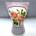 Rózsa váza, Mindenmás, Otthon, lakberendezés, Dekoráció, Kaspó, virágtartó, váza, korsó, cserép, Decoupage, transzfer és szalvétatechnika, Hangulatos kiegészítője lehet otthonunknak ez a dekupázs technikával díszített váza.  Tisztítását c..., Meska