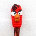 Angry birds teáskanál piros, Otthon & lakás, Férfiaknak, Konyhafelszerelés, Konyhafőnök kellékei, Legénylakás, A teáskanál díszítését kézzel formáztam süthető gyurmából. A kanál mindennapos használatra alkalmas,..., Meska