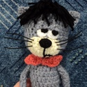 Mirrmurr cica horgolt formában, Játék, Játékfigura, A képen látható Mirrmurr formájú cica 25 cm magas horgolt figura. Szivaccsal tömött, bajsza hajlékon..., Meska
